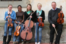 Music College Students with Robert Turrell Viola teacher bath